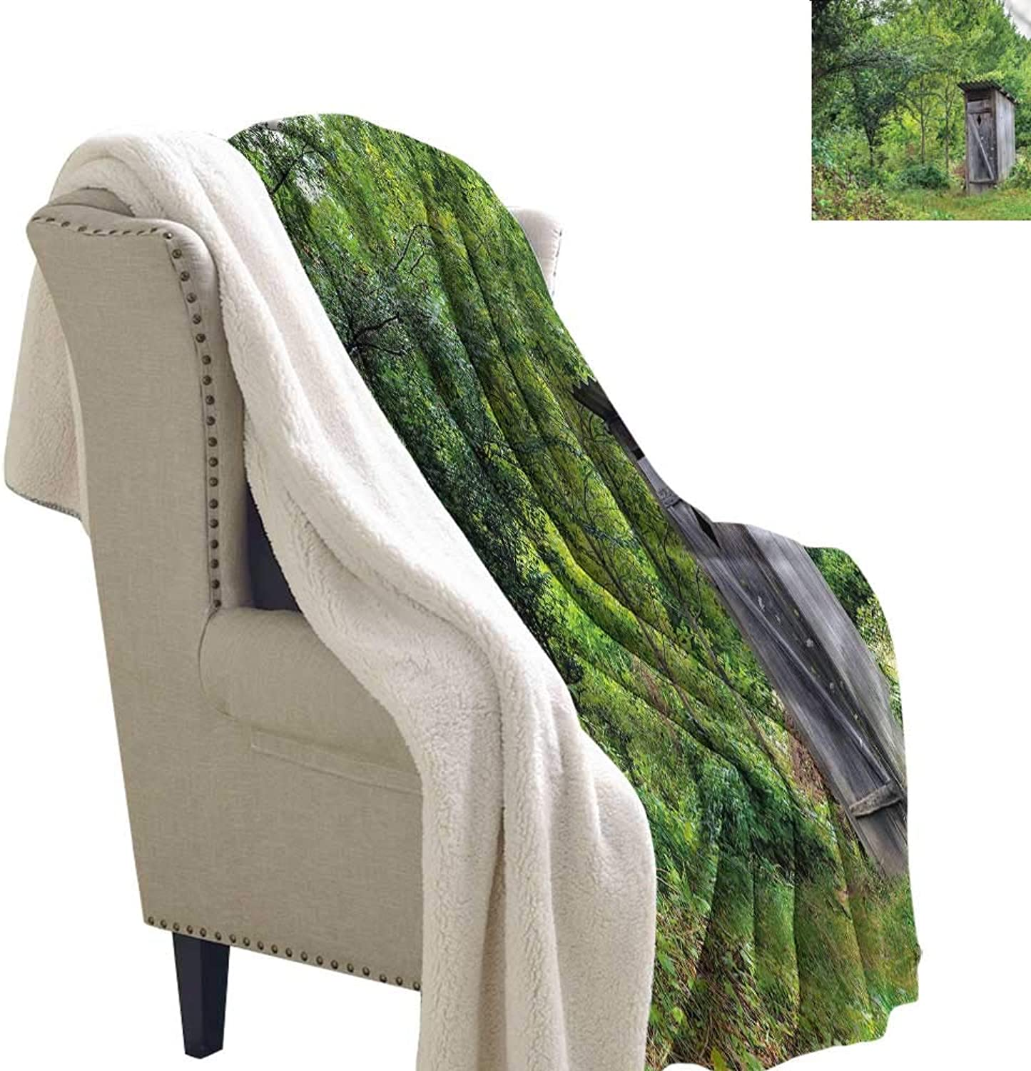 Alexandear Outhouse Light Thermal Blanket Spring Forest Worn Hut Print Summer Quilt Comforter 60x32 Inch