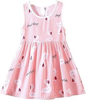FTSUCQ Girls Swan Printed Cartoon Sundress Princess Dresses