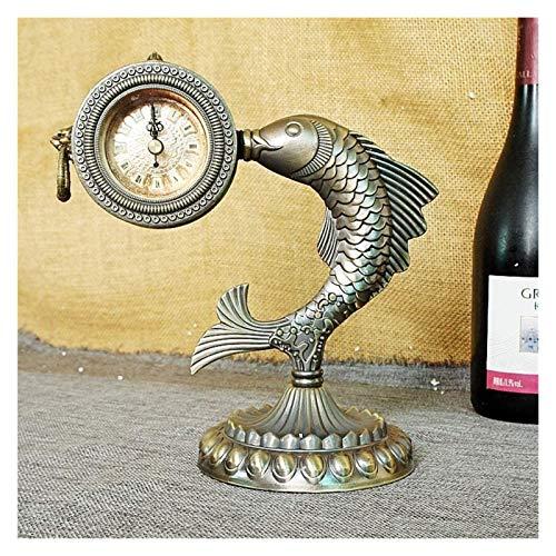 ZJSXIA Bloque de Reloj Rico Colección Familia Vintage Pescado Reloj Fotografía Prórdicura Ornamentos Creativos Reloj de Pared