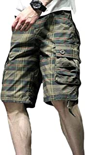 Yeirui Men's Relaxed-Fit Multi-Pockets Plaid Outdoor Casual Cargo Shorts
