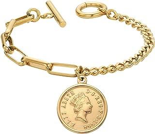Dec.bells Jewellery Link Bracelet Her Majesty Queen Elizabeth II 1965 1998 Coin Pendant Charm Bangle