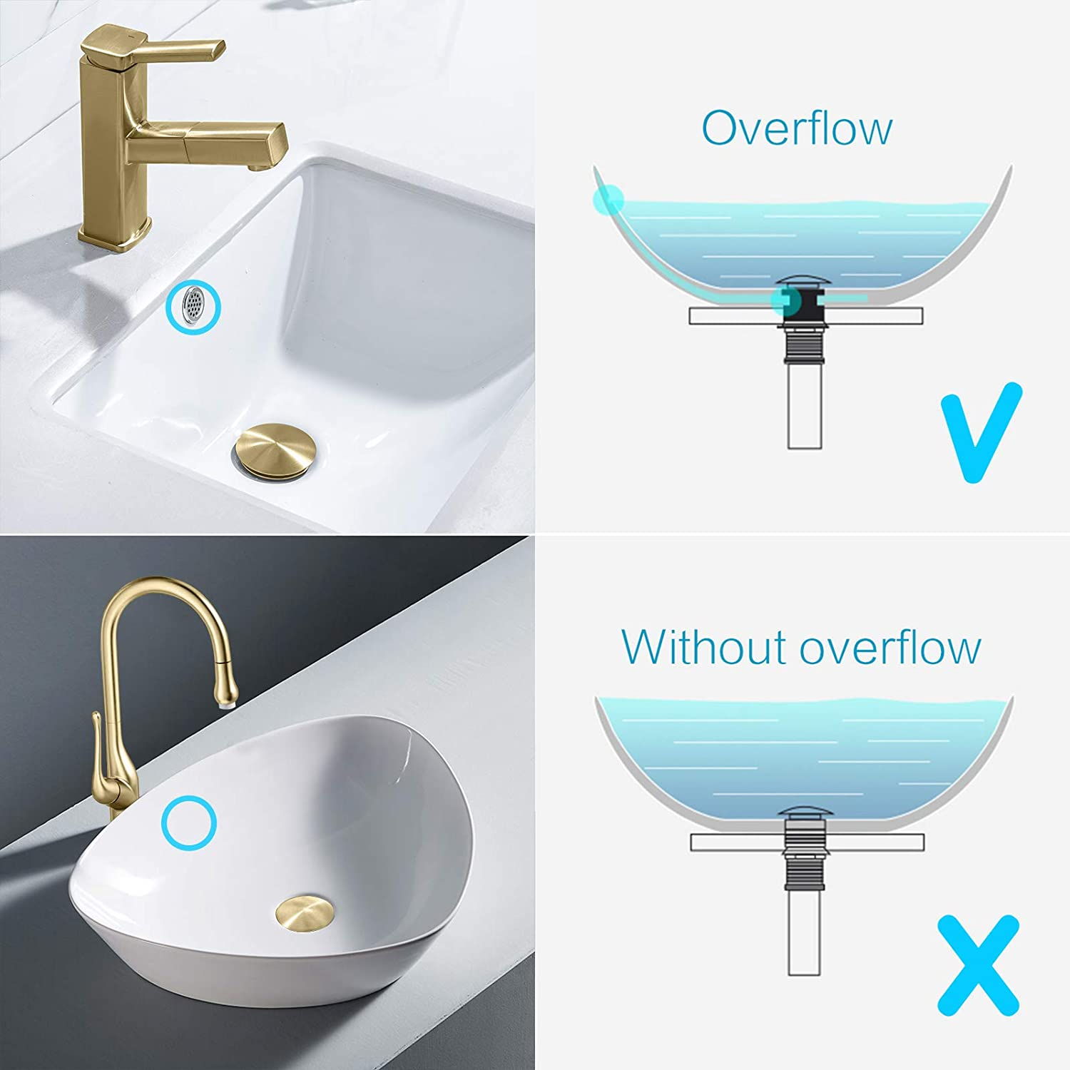 Buy Kaiying Pop Up Drain Bathroom Sink Drain Stopper With Overflow Vessel Sink Drain Assembly With Detachable Basket Stopper Anti Explosion And Anti Clogging Drain Strainer Brushed Gold Online In Turkey B08k92qdqd