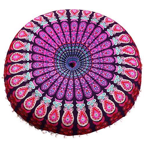 Casa Moro Indisches Yogakissen Mandala Saira Purpur Ø 55cm x Höhe 12cm rund aus Baumwolle inklusive Füllung   Orientalisches Sitzkissen Zierkissen für einfach schöner Wohnen   MA4606