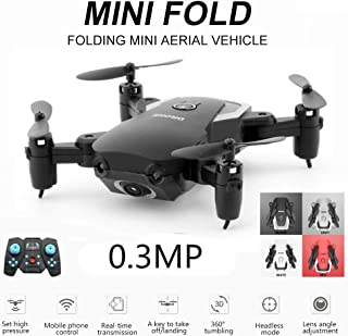 OUYAWEI A808 Gesture Photo Taking Foldable Mini RC Quadcopter Drone 720P Camera WiFi FPV Drone Altitude Hold Headless Mode RTF WiFi 300,000 Pixels (Black)