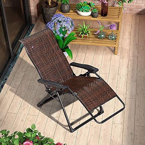 GOHHK Tumbona Sillas reclinables Silla reclinable Plegable de Gravedad Cero, Tumbona de Playa Resistente marrón para Piscina, Tumbona de jardín al Aire Libre, Soporte 150 kg