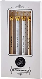 Creative Brands Santa Barbara Ballpoint Crown 4-piece Pen Set With Pearl in Gift Box - Glam B1396