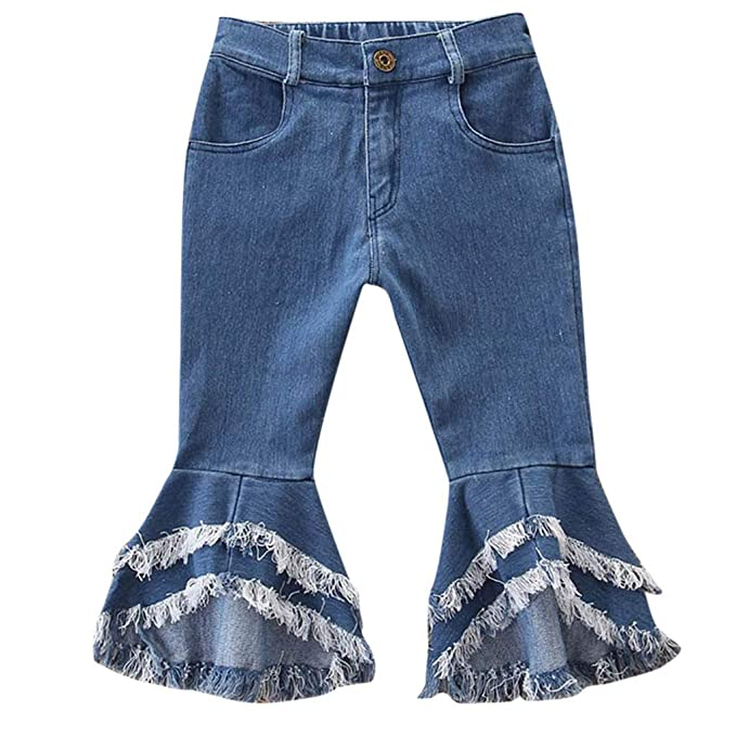 Merqwadd Toddler Little Girls Denim Jeans Bell-Bottom Ripped Ruffle Flare Pants Trousers for 2-7Years Kids
