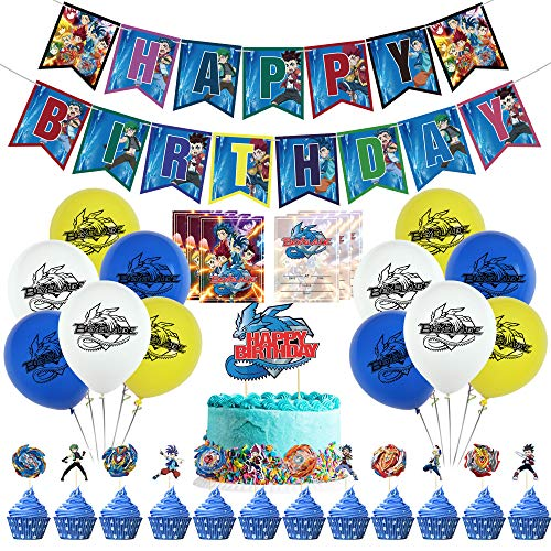Beyblade Birthday Party Supplies, Beyblade Party Decorations Kits Include Beyblade Happy Birthday Banner, Balloons, Cake Toppers, Invitation Cards for Kids Beyblade Theme Party