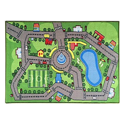Tapis de Jeu pour Enfant Bébé éducatifs Moquette Anti choc Ramper Street View Street View Paysage de ville Vert pour Enfants Chambre Salon Tatami Chambre De Sol Tapis 0.8×1.2M