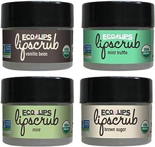 Eco Lips LIP SUGAR SCRUB 4-Pack (4-0.25oz jars) 100% Organic Lip Care Treatment with Organic Sugar & Coconut Oil - Gently ...