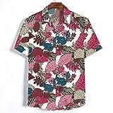 T-Shirt Hombre Moda Transpirable Estampado Vintage Hombre Shirt Regular Fit Botón Tapeta Personalidad Manga Corta Hombres Shirt De Ocio Vacaciones Hawaii Hombres Shirt Playa A-White L