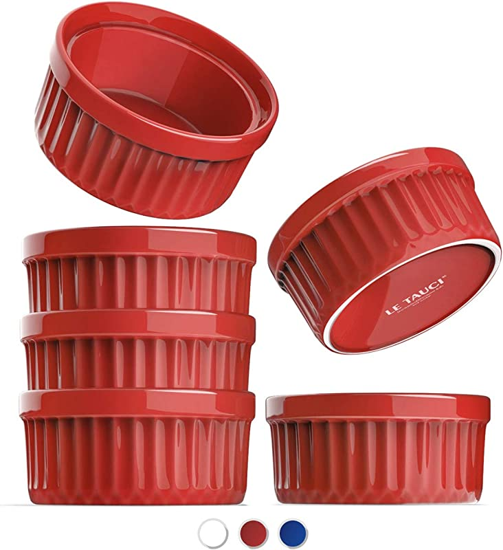 LE TAUCI Ramekins 4 Oz Creme Brulee Dishes Ramekin Set For Souffle Dipping Sauces Pudding Set Of 6 True Red