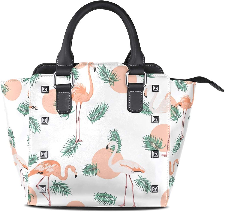 My Little Nest Women's Top Handle Satchel Handbag Tropical Jungle Palm Tree Leaves Flamingo Birds Ladies PU Leather Shoulder Bag Crossbody Bag