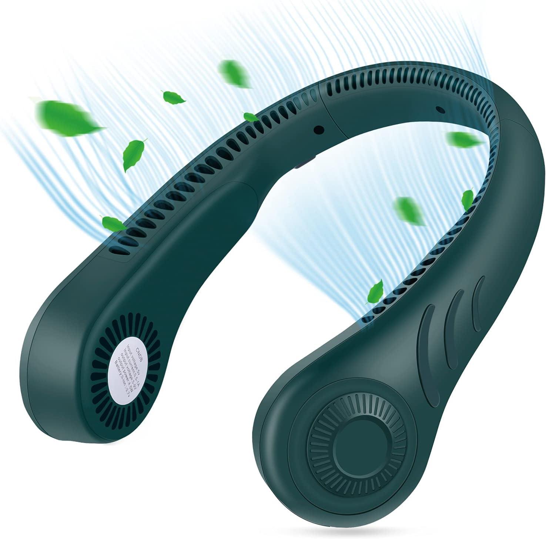 Portable Neck Fan, Hands Free Bladeless Fan, 4000 mAh Battery Operated Wearable Personal Fan, Leafless, Rechargeable, Headphone Design, USB Powered Desk Fan,3 Speeds 78 air outlets (green)