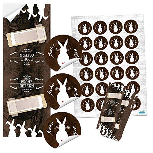 SET 25 + 24 braun weiß schwarz natur Osteraufkleber Osterhase Aufkleber Sticker Geschenk-Verpackung Oster-Deko Geschenkaufkleber scrapbooking basteln FROHE OSTERN