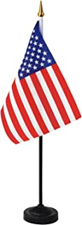 Anley USA Deluxe Desk Flag Set - 7.5 x 5.5 inches Miniature American US Desktop Flag with 12.5