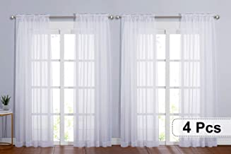 NICETOWN 4 Pieces Sheer White Curtains 84 - Window Treatment Rod Pocket Tulle Voile Drape / Panel Sets for Patio Door (4 Panels, W60 x L84)
