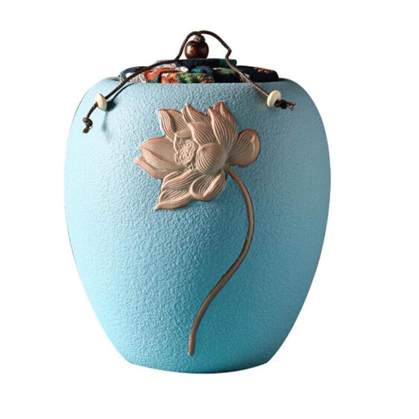 固有のリフレッシュ物思いにふけるSHENGSHIHUIZHONG ペット小箱、機能性エナメルセラミック密封防湿犬と猫のお土産箱 (Color : Blue)