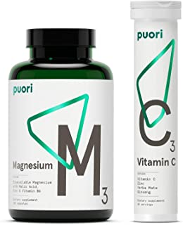 Puori Magnesium Zinc and C3 Vitamin C Supplement Bundle
