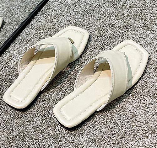 Yhjmdp Zapatillas de Playa Gruesas con Punta de Clip para Mujer, Suela Blanda cómoda, Chanclas Planas para Mujer, Zapatos de Plataforma,Beige,39