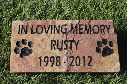 GraphicRocks Engraved Pet Memorial Headstone Grave Marker Dog Cat 6 inch x 12 inch Natural Red Stone