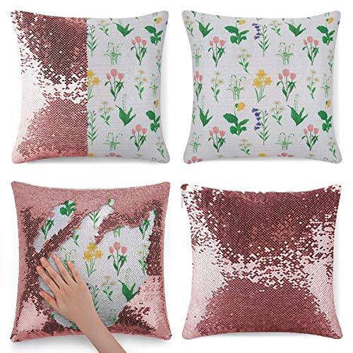 Funda de almohada con lentejuelas, con diseño de flores de primavera y lirio del valle, gotas de nieve, Campanula, narciso, tulipanes, sirena, funda de almohada mágica reversible con lentejuelas.