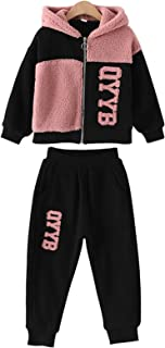 amropi Girl's Hooded Sweatshirt Zipper Jacket and Jogging Pants Warm Clothing Set Outfits for 3-10 Years