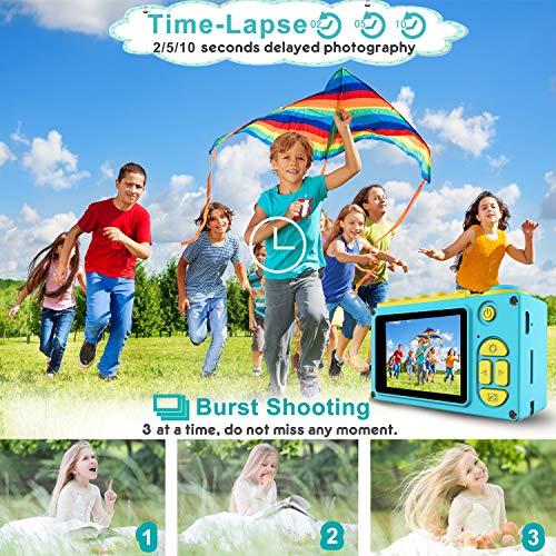 Kriogor Kinder Kamera, Kids Camera Digitalkamera Videokamera mit HD 1080/ 8 Megapixel/ 2-Zoll-LCD/ 256M TF-Karte (Blau)