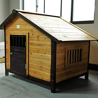 Alppq Doghouse Outdoor Solid Wood Dog House Waterproof Easy to Clean Kennel Wood House Villa Medium and Large Dogs Washable Cat Nest Four Seasons Universal Comfortable Pet Bed Luxury Cave Bed