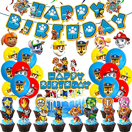 Paw Dog Patrol Palloncini, Paw Dog Patrol Birthday Decoration Set per Feste di Compleanno Cupcake Decor Palloncini Decorazione Compleanno per Bambini