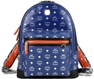 MCM Women's Resnick Blue Leather Reflective Nylon Medium Backpack MUK9ARA15VE001