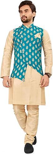 Mens Ethnic Wear Kurta Pajama Waistcoat Set