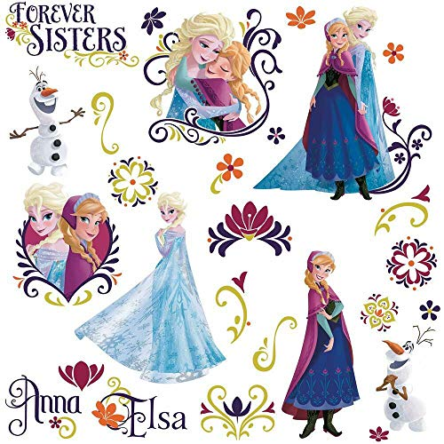 RoomMates RMK2652SCS Disney Frozen Spring Peel And Stick Wall Decals,Anna w/ Cape