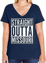 Tenacitee Women's Straight Outta Missouri Plus Size V Neck T-Shirt, Size 1, Navy