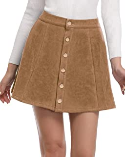 Women's Faux Suede Button Closure A-Line Mini Short Skirt Clearence