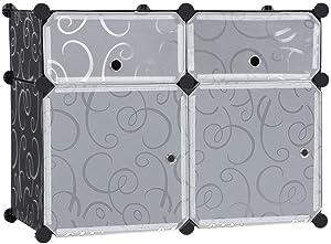 EGLEMTEK Mobile Guardaroba/Scarpiera Modulare 4 Scomparti Nero con Ricamo Armadio Scaffale Cubi Mobiletto Modulare 73 x 36 x 55 cm
