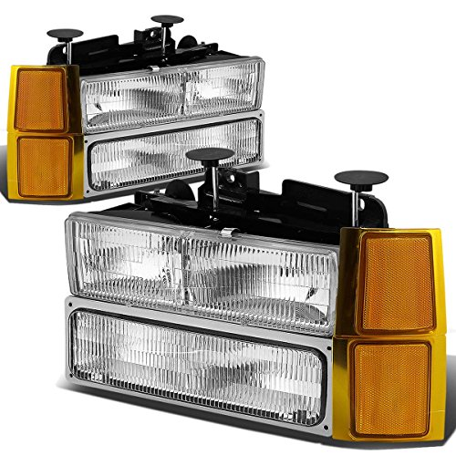 Replacement for 94-98 Chevy C10 C/K-Series OE Style Chrome Housing Headlight+Bumper Lamps+Amber Corner Lights