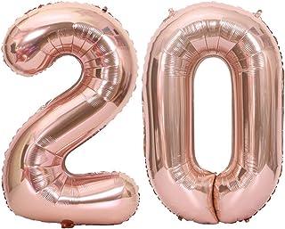 Tellpet Rose Gold Number 20 Balloon, 40 Inch