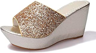 Sequined Wedge Slippers Female Muffin thick-soled Sandals Slippers high-heeled Casual non-slip Shoes