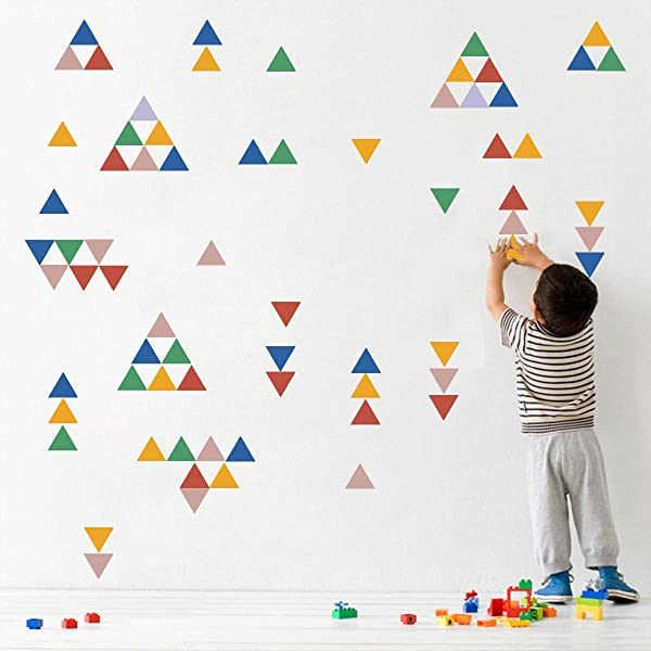 Decalmile Rainbow Color Triangle Wall Stickers Polka Dots Wall Decals Living Room Bedroom Wall Art Decor