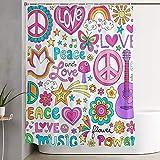 VINISATH Duschvorhang,Friedensliebe & eine Taube Flower Power Groovy Psychedelic Notebook Doodles Set mit Schmetterling,wasserdichter Badvorhang mit 12 Haken Duschvorhangringen 180x180cm