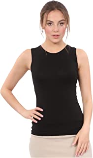 Women's Modest Sleeveless Undershirt - Full Shoulder High Neck Layering Shell