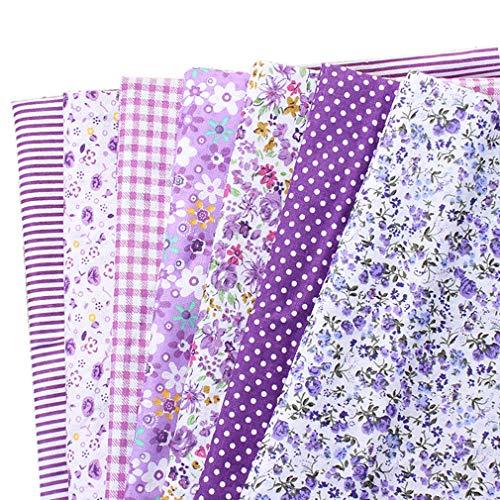 CUTOOP - 7 piezas de tela de retales 100% algodón, diferentes patrones de patchwork, para costura, álbumes de recortes, acolchados, manualidades, algodón, morado, 25 x 25 cm