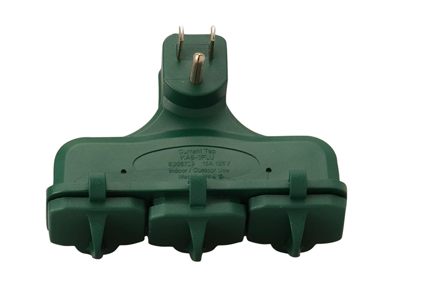 Woods 13270 3-Outlet Adapter Suitable For Outdoor Or Indoor Use, Weatherproof, Ideal for Holiday Decorations, Space Saving Right Angled Multi Adapter, Durable and Versatile, Green Color