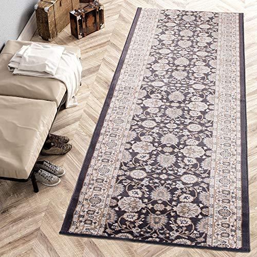 Carpeto Rugs Läufer Teppich Anthrazit Schwarz Orientalisch Flur Eingangsbereich Meterware - Teppichläufer in Viele Größen 120 x 350 cm