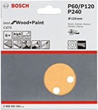Jogo de Discos de Lixa Bosch C470 Best for Wood&Paint; 125mm G60/120/240 com 6 unidades