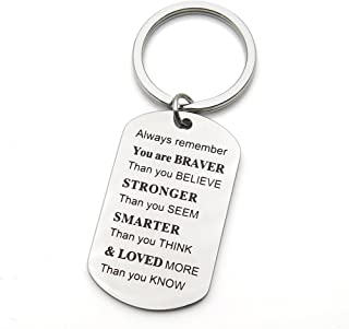 Always Remember You are Braver Stronger Smarter Than You Think Inspirational Graduation Family Friends Gifts Stainless Steel Keychain Key Ring (Style 2)