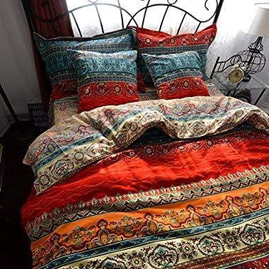 LELVA Boho Duvet Cover Set King Colorful Stripe Fitted Sheet Set Bohemian Bedding Set Baroque Style Bedding Set 4pcs
