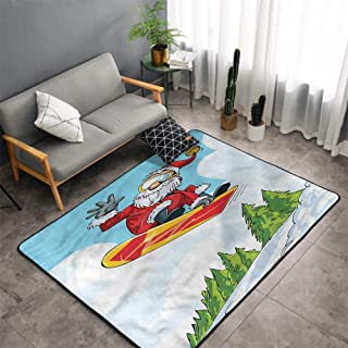 Christmas Area Rug Carpet Santa Living Room Area Rug,Jump on Snowboard Pines