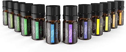 Aceites Esenciales Aromaterapia Anjou 12 Aceites 100% Natural Puro (Lavanda, Naranja Dulce, Árbol de Té, Eucalipto, Hierba de Limón, Menta, Bergamota, Incienso, Limón y Extra) para Humidificador